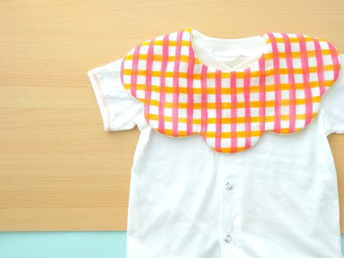 BABY BIB, 口水巾, Scalloped Bib,Reversible, Orange Plaids, Japanese Bib