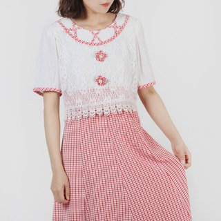 [Egg plant vintage] strawberry girl lace stitching print vintage dress