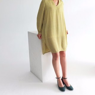 Bright yellow and gray animal print dress