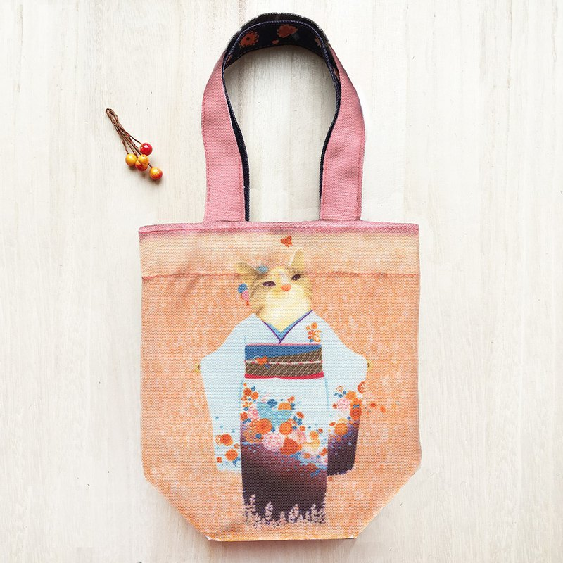 Cat Ukiyo-painting - Phoenix Eye Three-Piece Cat / Double-sided Eco-friendly Drink Bag / Umbrella Bag / Universal Bag