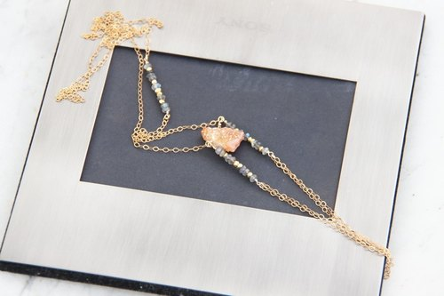 Orange Quartz Bohemian 14KGF long chain / Druzy gemstone nugget BOHO style 14KGF necklace