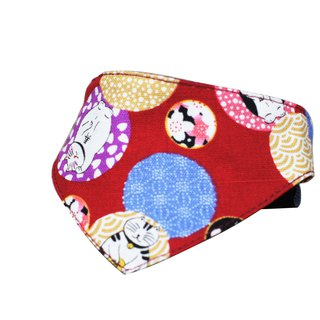 Pet triangle scarf / scarf Lucky cat red S ~ L 10 kg the following size