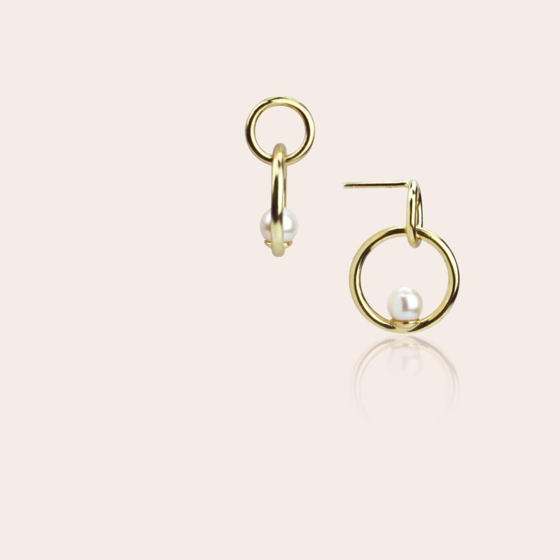 Miss Queeny original | March girls - hoop earrings 925 sterling silver natural pearl earrings