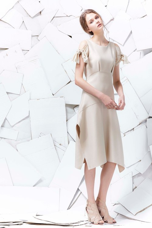 YUWEN beige sleeves tied bow tie dress