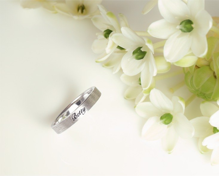 LIM - Simple Flat Edition Custom Lettering Silver Ring Women's Ring