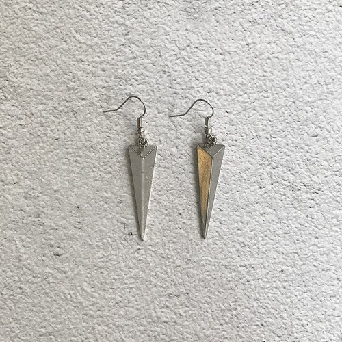 Silver inverted triangle antique ear pin earrings BFA026