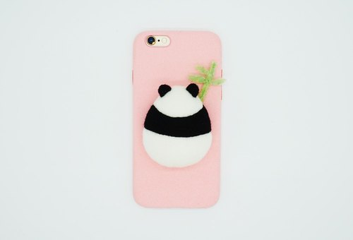 Moonmade original handmade wool felt phone shell gray evergreen panda bear phone case wool felt panda bear plump fat ball birthday gift Iphone X 6 7 8 Plus Samsung