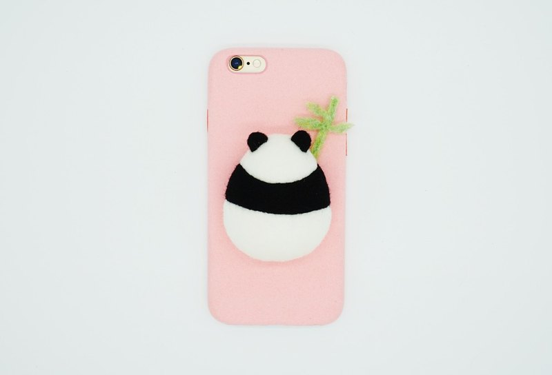 The panda mobile phone case with wool felt is holding a bamboo too cute birthday gift