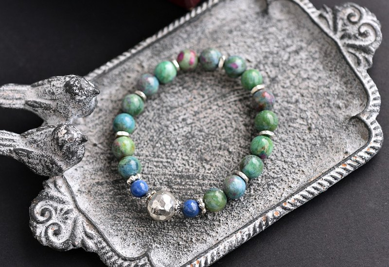 Color red and green treasure + blue line stone sterling silver bracelet