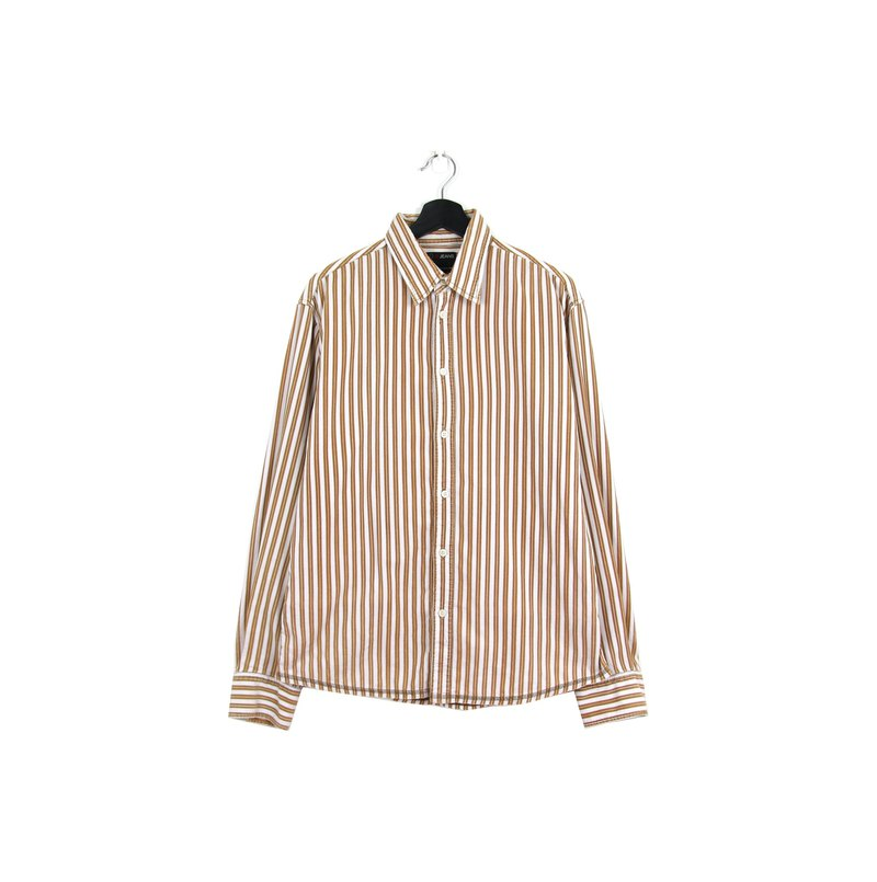 Back to Green Corduroy Shirt Stripe White & Coffee Vintage