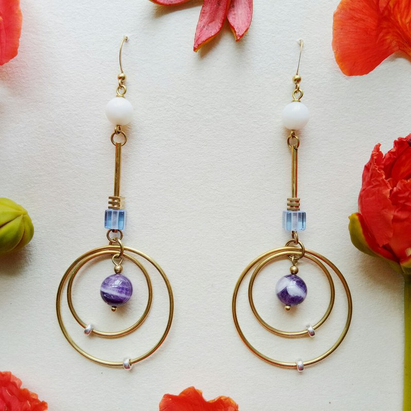 <Rain> Amethyst Brass Earrings Ear clips / ear hook