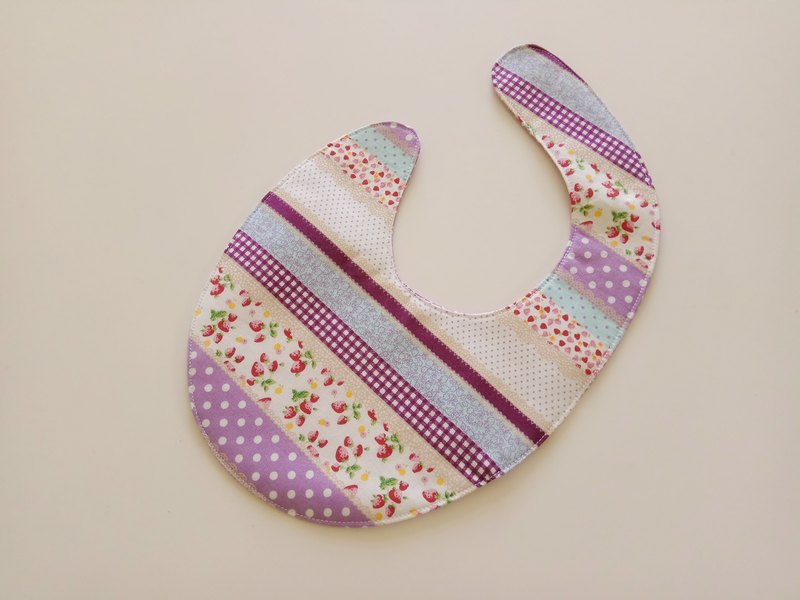 Purple strawberry flower baby bib pocket bib pocket