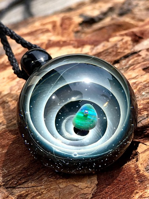 boroccus  Opal  The spiral design of the universe  Thermal glass  Pendant.