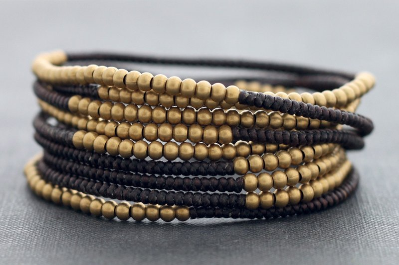 Woven Beaded Bracelets Brown Macrame Strand Wrap Men Unisex