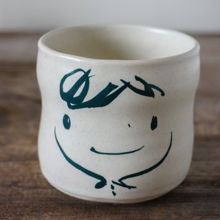 Brut Cake handmade ceramic – smiley face tea cup 260ml (28) , cure shape, no handle, hand drawn face pottery cup. A great gift idea !