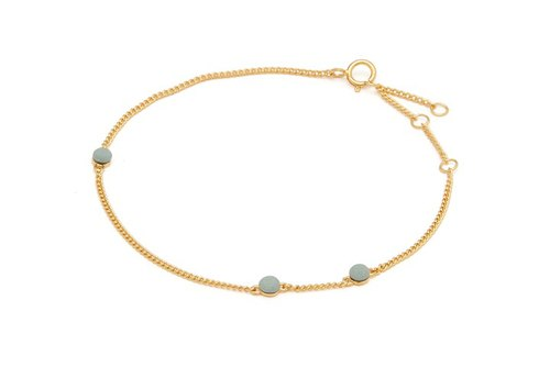 <Lockeya - Nordic Series> Asakusa green fog color porcelain beads 24K bracelet