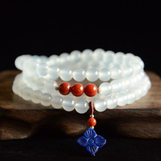 [Geometry] natural south red agate lychee frozen 108 beads retro simple bracelet