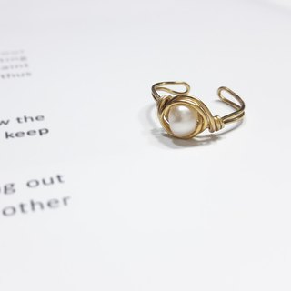 ◎ pearl ring adjustable brass ring winding