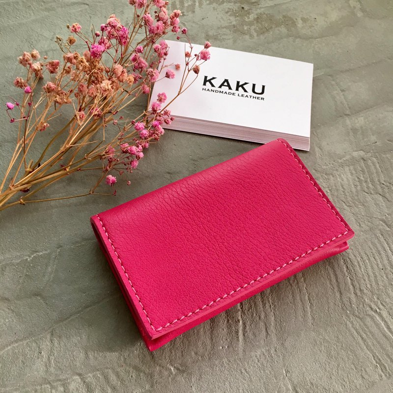 KAKU leather design customized custom business card holder card holder pink