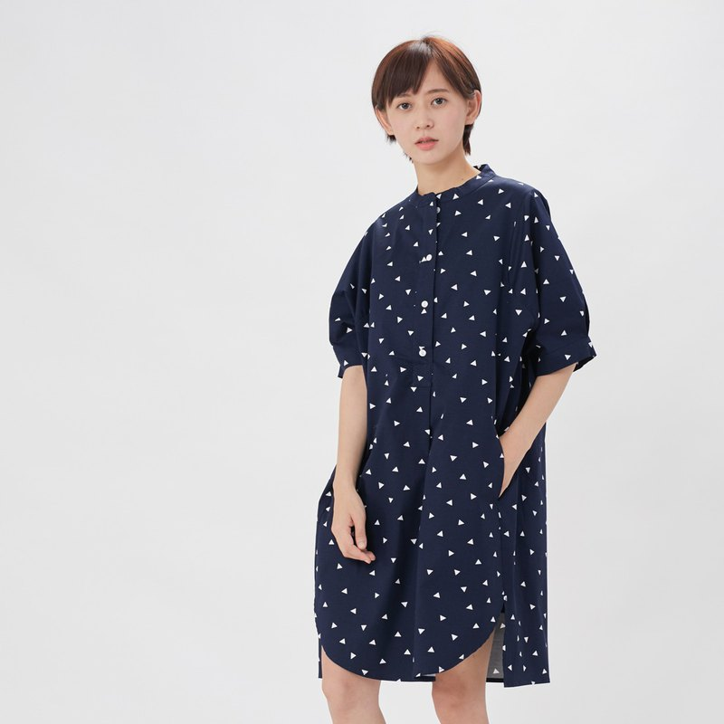 Kurta Short Sleeves Print  Midi Dress Blue