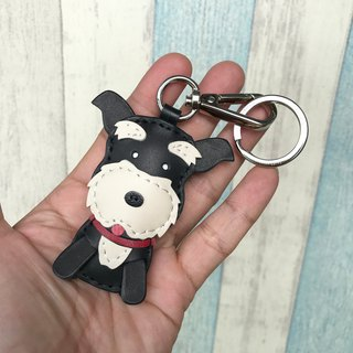 Handmade leather black cute schnauzer handmade sewing key ring small size