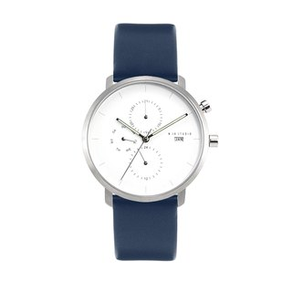 Minimal Watches : MONOCHROME CLASSIC - PEARL/LEATHER (Blue)