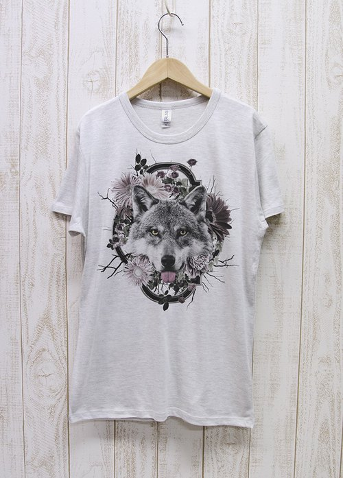 ronronWOLF Tee Flower Frame (Heather White) / RPT004 - HWH