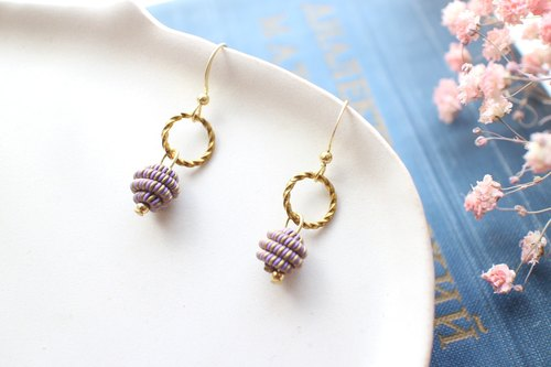 Purple fruit-Brass handmade earrings