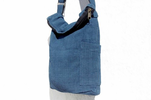 Birthday gift Mother's Day gift Valentine's Day gift handmade a natural cotton storage bag / ethnic wind diagonal backpack / plant dyeing indigo Shoulder Bag / side backpack - blue stained forest hand-woven cotton plant dyed original cotton