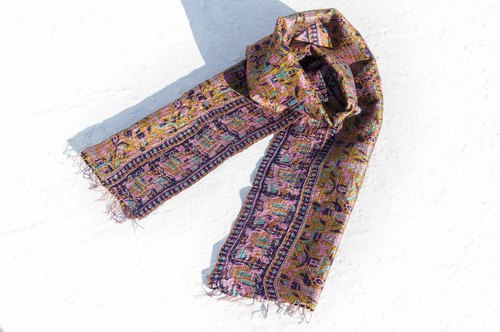 Valentine's Day Gift Birthday Gift Mother's Day Gift Limited Edition One Hand-stitched Sari Scarves / Embroidered Scarves / Silk Embroidered Scarves / Hand-stitched Saris Scarves / Indian Silk Embroidered Scarves - Animal Party in Forest Totem