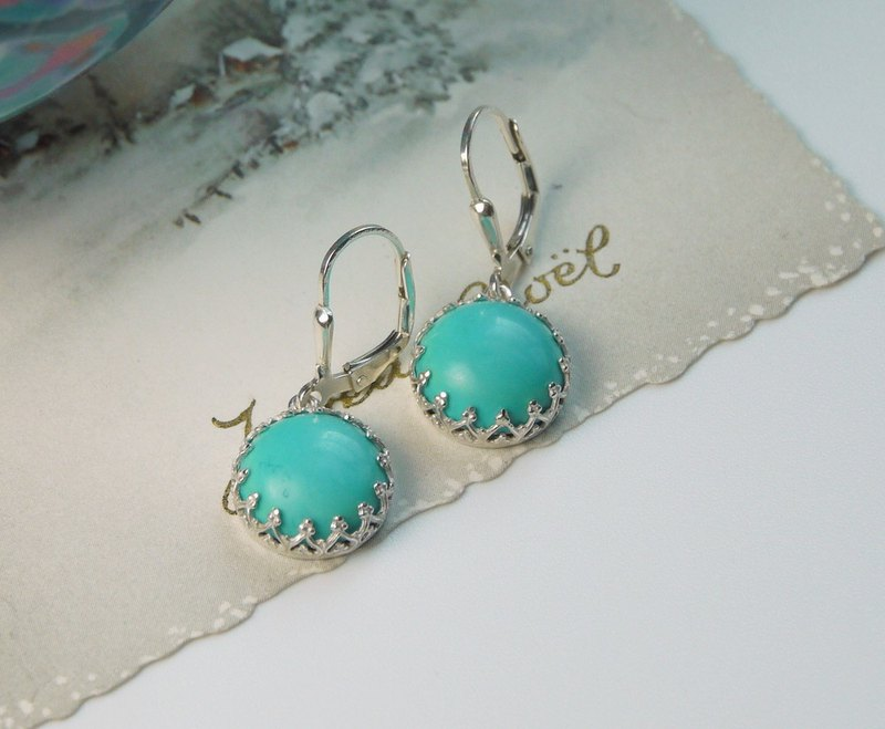 Natural Turquoise earring Sterling Silver French earring hooks