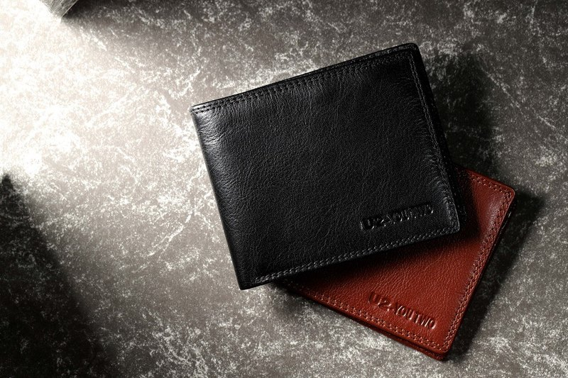 Simple leather handmade short clip - leather wallet