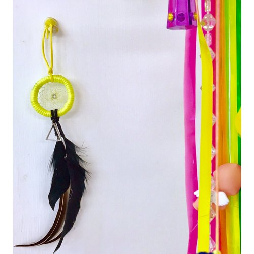 【Positive power】 triangle Dream Catcher │ necklace │ strap │ fluorescent yellow