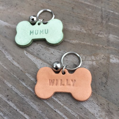 Pet bone shape leather tag multicolor can choose / free front and back lettering / English / numbers