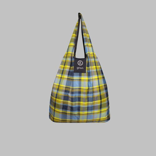 grion waterproof bag - Shoulder dorsal paragraph (L) - Limited funds - blue and yellow plaid