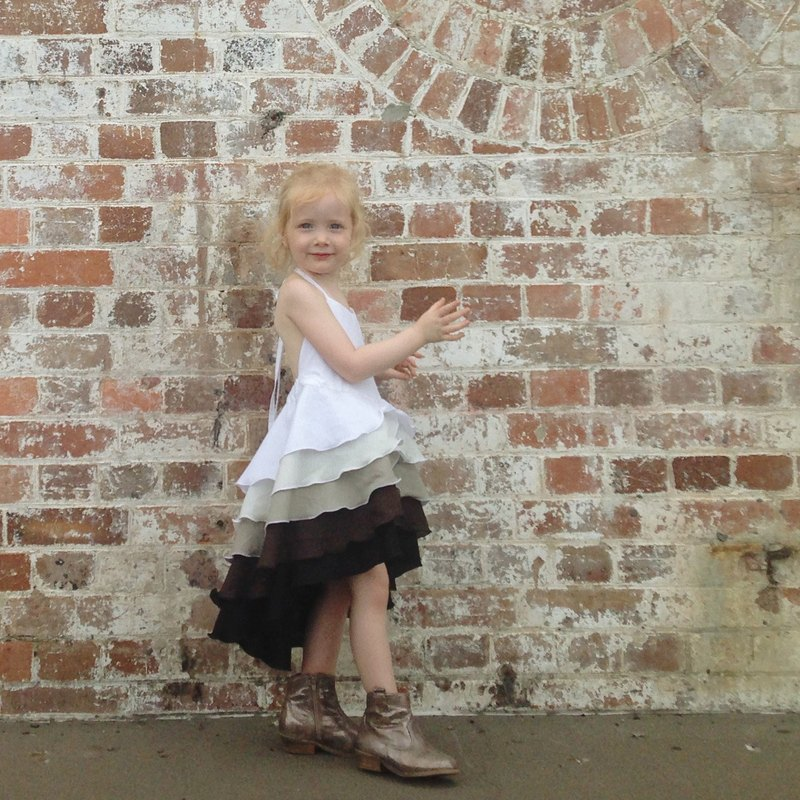 Girls Ombré Flamenco Party Dress in Coffee 0-2 Years