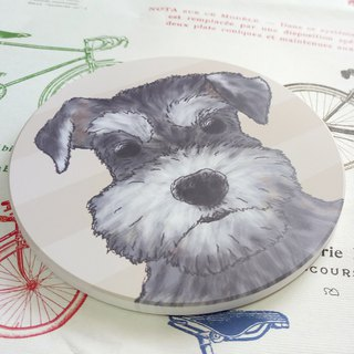 Customized (can add words)-Sketch series~Schnauzer-Sucker coaster~Ceramic coasters