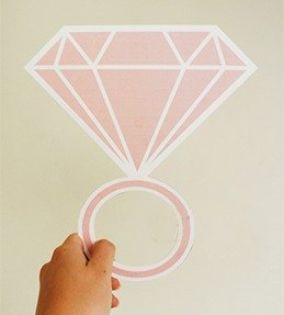 Handmade / Wedding Accessories / big ring / Cartoon diamond ring / Q version of the ring / pink props propose models