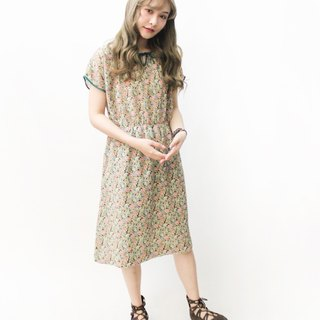 【RE1004D1425】 early autumn Japanese floral green floral short-sleeved ancient dress