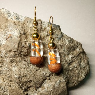 Retro glass earrings // orange color