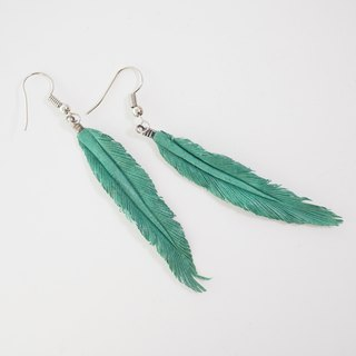 Leather Crave Earring Feather design - Lake