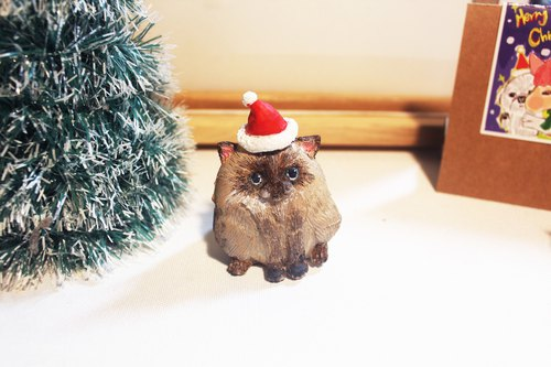 Christmas special - cute fat Siamese Cat Enlarge (with Christmas hat