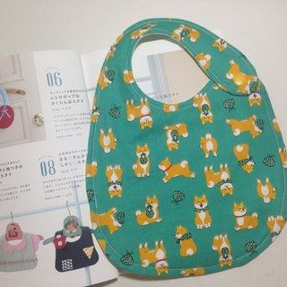 Small cute small Chai dog double-sided bib (green)