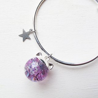 Rosy Garden dark purple cat water inside glass ball bangle