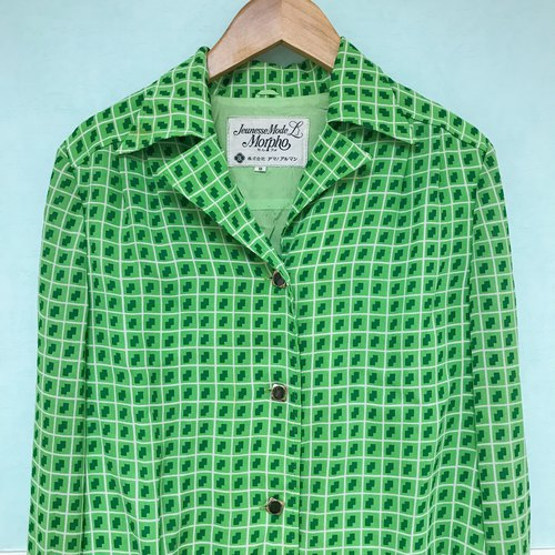 Vintage Tops / Wind Green Checkered Long Sleeve Shirts