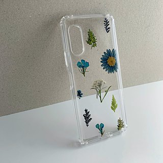 Small fresh (blue version) :: dry flower pressed flower transparent phone case