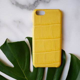 AOORTI :: Apple iPhone 6s/6s Plus Handcrafted Leather Coat Case / Mobile Shell - Crocodile Pattern / Lemon Yellow