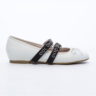 [Saint Landry] LAND rock style buckle design ballet shoes - Classic White