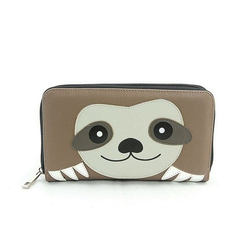 Sleepyville Critters - Sloth Face Zip Around Wallet