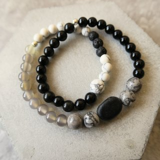 Black Volcano [Spiritual • Small Hand-Heavy] Volcanic Stone. Black Onyx. White Turquoise. Grey Agate. 925 Sterling Silver. Unisex Double Ring Bracelet for Men and Women